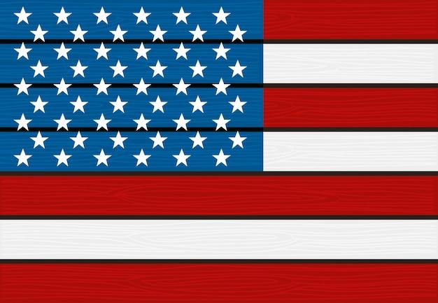 Bandeira do eua fundo de textura de madeira