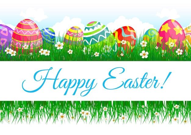 Bandeira do feriado de ovos de páscoa e grama verde