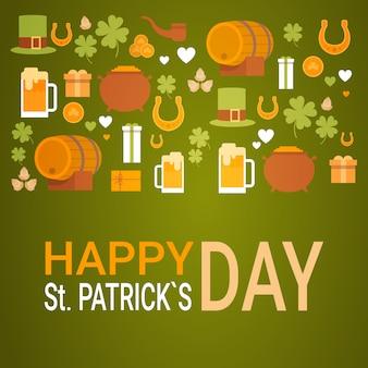 Bandeira do festival da cerveja do dia de patrick cartão comemorativo