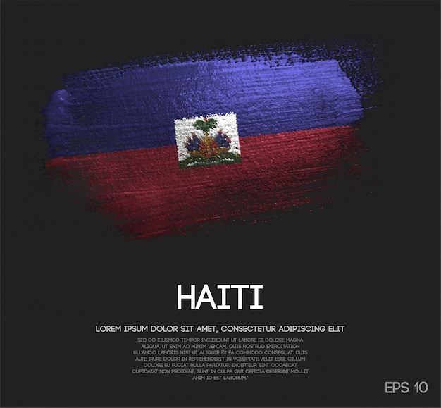Bandeira do haiti feita de glitter sparkle brush paint