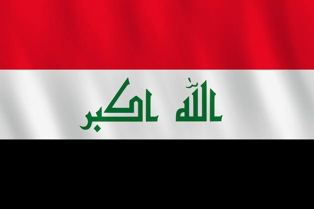 Bandeira do iraque com efeito de ondulação, proporção oficial.