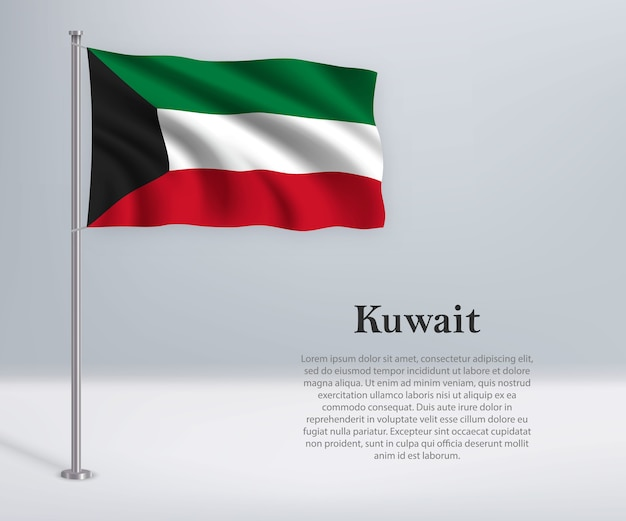 Bandeira do kuwait no mastro