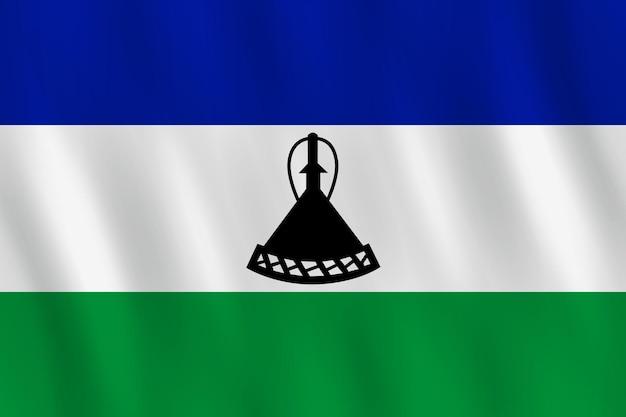 Bandeira do lesoto com efeito ondulante, proporção oficial.