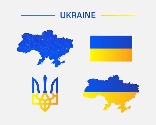 Bandeira do mapa da ucrânia e ícones do vetor do emblema do país. símbolos de países ucranianos em cores nacionais ua amarelas azuis. ilustração vetorial eps 10
