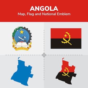 Bandeira do mapa de angola e emblema nacional