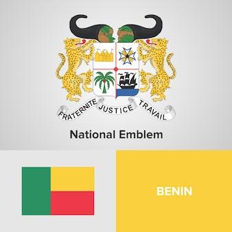 Bandeira do mapa de benin e emblema nacional