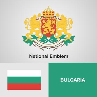 Bandeira do mapa de bulgária e emblema nacional