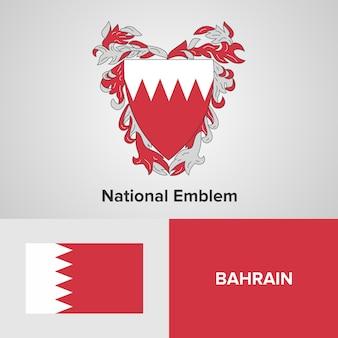 Bandeira do mapa do bahrein e emblema nacional