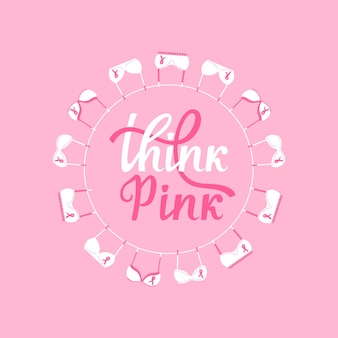 Bandeira do mês nacional de conscientização do câncer de mama. sutiãs rosa pendurados em uma corda. acho que rosa mão desenhada letras.