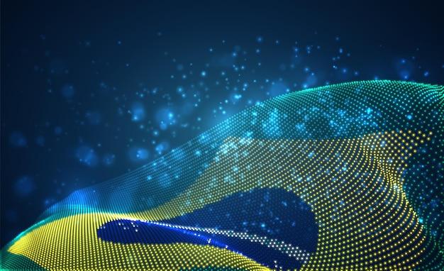 Bandeira do país brilhante brilhante de pontos abstratos. brasil