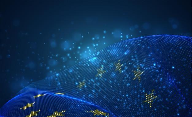 Bandeira do país brilhante brilhante de pontos abstratos. união européia