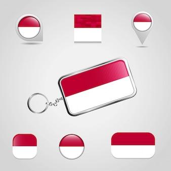 Bandeira do país da indonésia em chaveiro