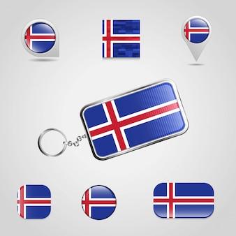 Bandeira do país de islândia no chaveiro e mapa pin estilo diferente