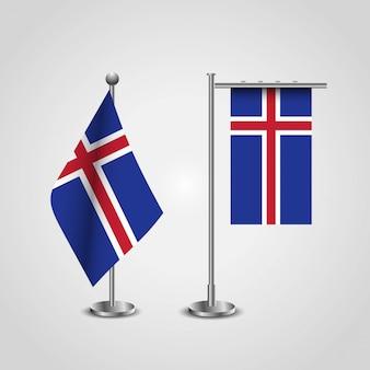 Bandeira do país de islândia no pólo