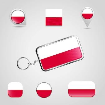 Bandeira do país de polónia no chaveiro e mapa pin estilo diferente