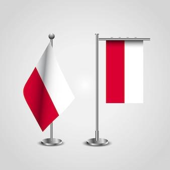 Bandeira do país de polónia no pólo