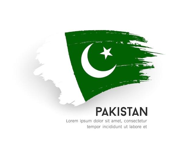 Bandeira do paquistão com design de pincelada isolado na ilustração de fundo branco