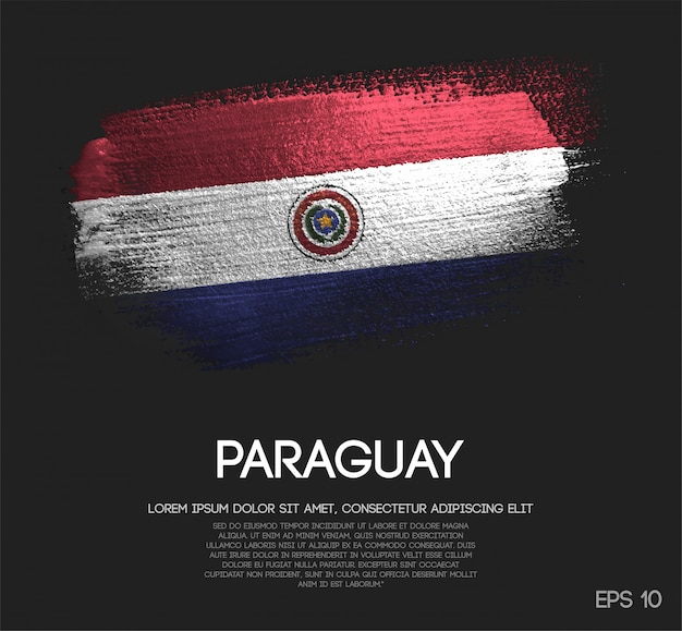 Bandeira do paraguai feita de glitter sparkle brush paint