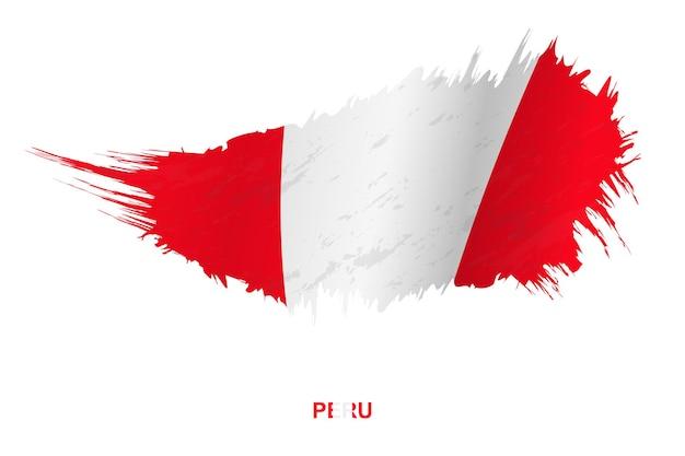 Bandeira do peru em estilo grunge com efeito de ondulação, bandeira de pincelada de vetor grunge.