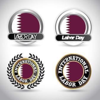 Bandeira do qatar com vetor de projeto do dia do trabalho