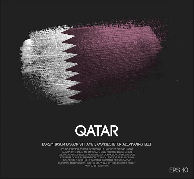 Bandeira do qatar feita de glitter sparkle brush paint