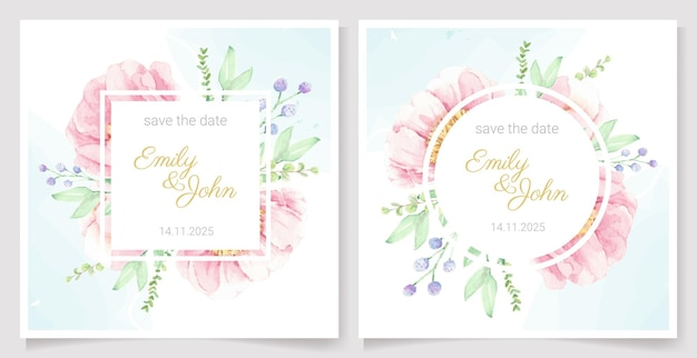 Bandeira do quadro da grinalda do buquê da flor de peônia rosa aquarela ou coleção de modelos de cartão de convite