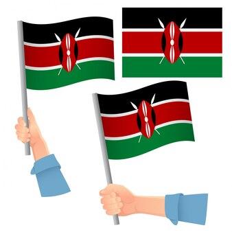Bandeira do quênia na mão definida