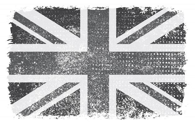 Bandeira do reino unido grunge preto e branco
