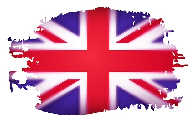 Bandeira do reino unido, ilustração isolada no fundo branco. efeito estereoscópico.
