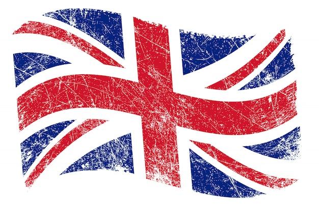 Bandeira do reino unido ondulada de grunge
