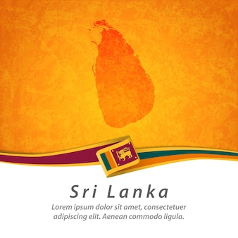 Bandeira do sri lanka com mapa central