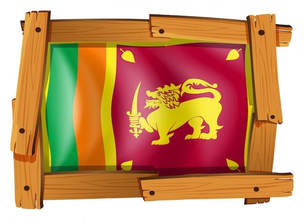 Bandeira do sri lanka em moldura de madeira