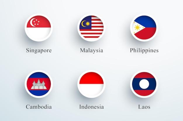 Bandeira do sudeste asiático definida como ícones redondos de botão 3d