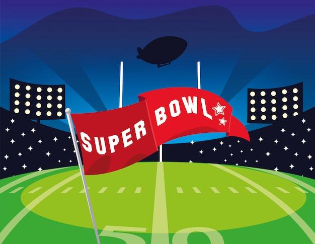 Bandeira do super bowl na frente da ilustração da arquibancada