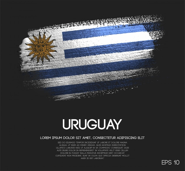 Bandeira do uruguai feita de glitter sparkle brush paint