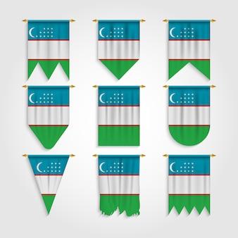 Bandeira do uzbequistão em formas diferentes, bandeira do uzbequistão em várias formas