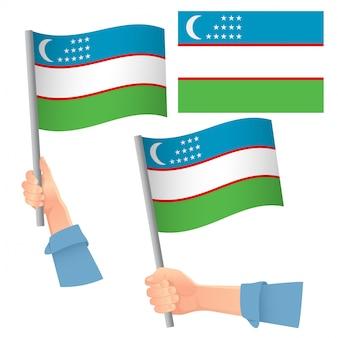 Bandeira do uzbequistão na mão definida