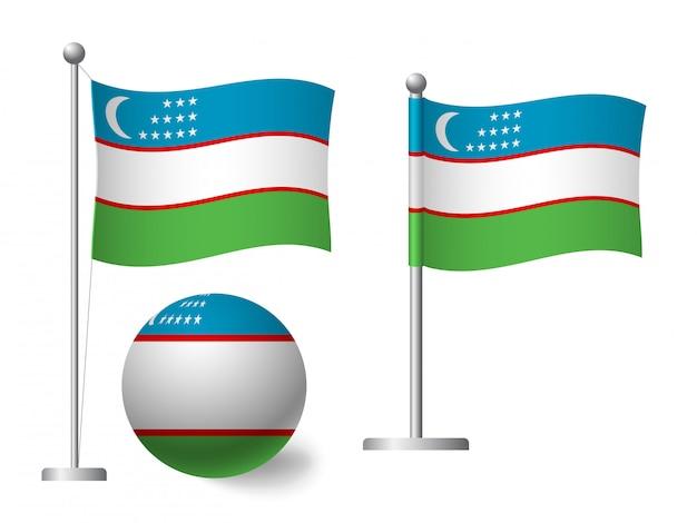 Bandeira do uzbequistão no ícone pólo e bola