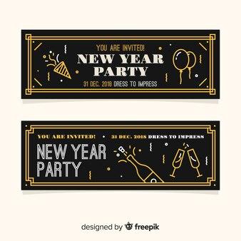 Bandeira do vintage de festa de ano novo
