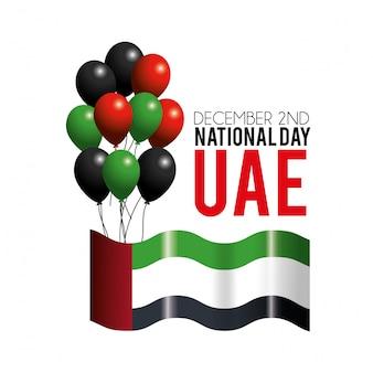 Bandeira dos emirados árabes unidos com balões para comemorar o dia patriótico