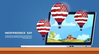 Bandeira dos Estados Unidos, balões de ar coloridos