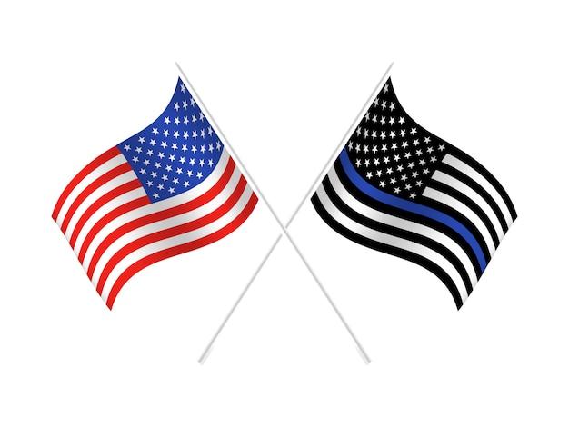 Bandeira dos estados unidos com linha azul para honrar a polícia e a lei. antecedentes, oficial.