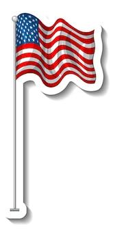 Bandeira dos estados unidos da américa com mastro isolado