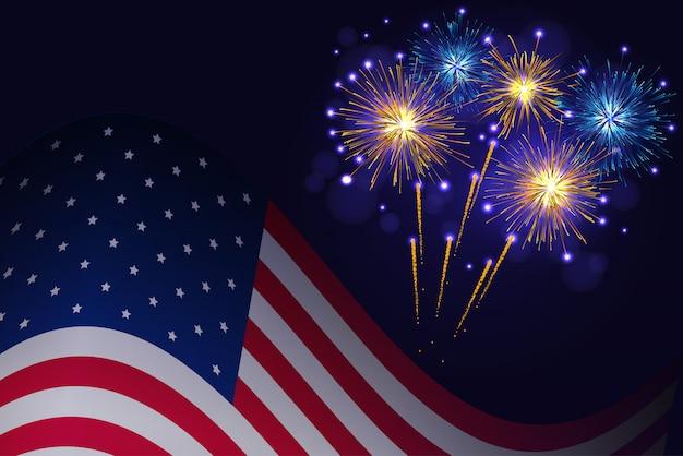Bandeira dos estados unidos e fogos de artifício azuis dourados