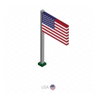 Bandeira dos eua no mastro em dimensão isométrica.