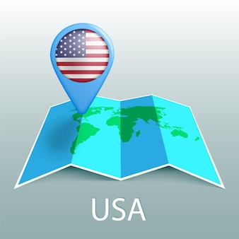 Bandeira dos eua no pino do mapa mundial.