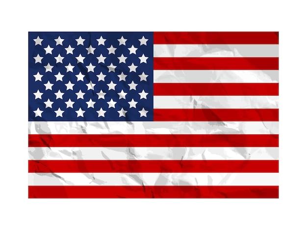 Bandeira dos eua pintada em papel amassado símbolo americano em textura enrugada de grunge