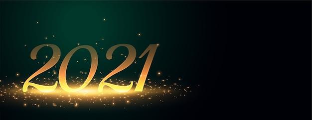 Bandeira dourada brilhante de 2021 para feliz ano novo