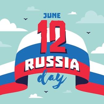 Bandeira e dia da rússia desenhada de mão