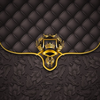 Bandeira elegante moldura dourada